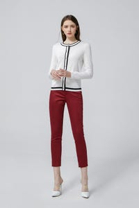 Pomegranate Regular Fit Cropped Skinny Stretch Sateen Pants