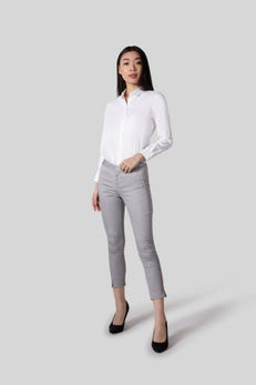 Cropped Skinny Stretch Sateen Pants