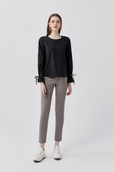 Dark Taupe Regular Fit Ankle Skinny Double Weave Pants