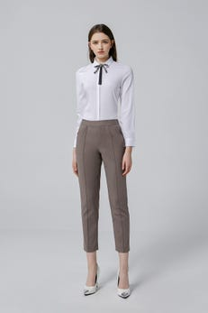 Dark Taupe Easy Fit Double Weave Pants