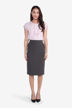 Basic Poly Pencil Suit Skirt