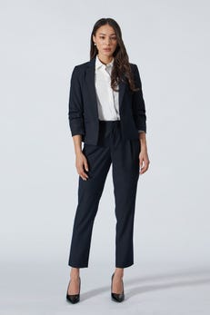 Dotted Dobby Blazer with Pleated Sleeves