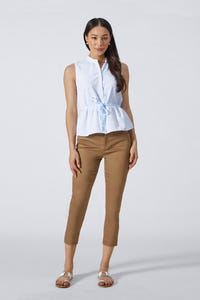 Coolmax Peplum Shirt with Detachable Tie