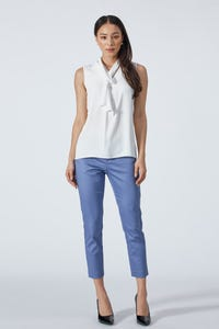 Sleeveless Blouse with Detachable Tie