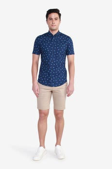 Short Sleeve Informal Branch Print Shirt