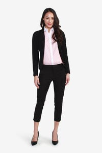 V-Neck Belted Suit Blazer with Back Pleats