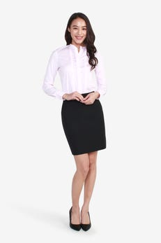 Long Sleeve Shirt with Twisted Stand Collar