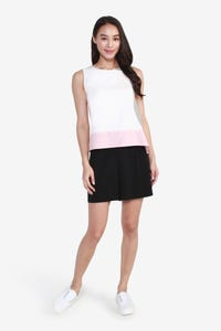 Asymmetric Colour-Block Sleeveless Blouse