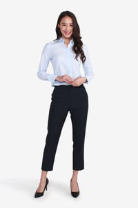 Coolmax Banker Pinstripe Cropped Easy Fit Pants