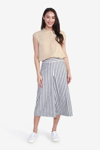 Linen-Look Striped Culottes