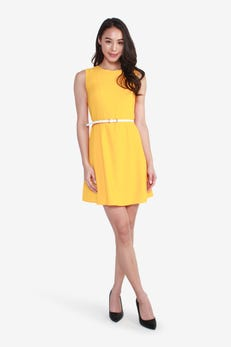 Belted Fit and Flare Sleeveless Dress