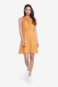 Dot Printed Sleeveless Dress with Neck-Tie Detail