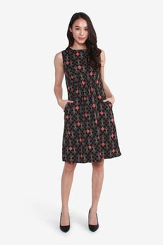 Sleeveless Printed Dress with Front Cinched Waist