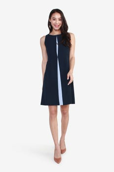 Fit and Flared Dress with Contrast Hem