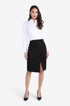 Sateen Midi Skirt with Buttoned Detail