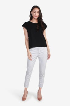 Cap Sleeve Tee with Front Pocket Detail