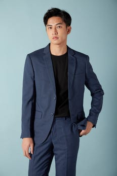 Regular Fit Polyester Twill Stretch Suit Blazer