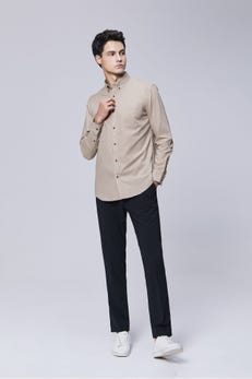 Sand Brown Smart Fit Long Sleeve Casual Oxford Shirt