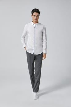 White Smart Fit Long Sleeve Casual Shirt With Printed Placket Details