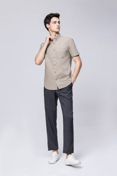 Sand Brown Smart Fit Short Sleeve Casual Oxford Shirt