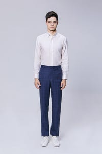 Navy Blue Slim Fit TR Checked Pants
