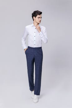 Navy Blue Regular Fit TR Checked Pants