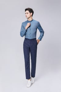Navy Blue Ultra Slim Fit TR Checked Pants