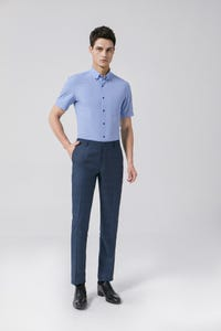 Navy Blue Regular Fit TR Twill Pants