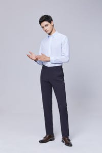 Navy Blue Slim Fit Nylon Spandex Pants