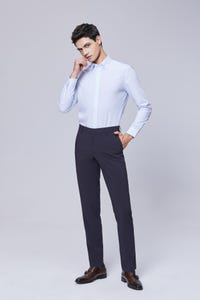 Navy Blue Ultra Slim Fit Nylon Spandex Pants
