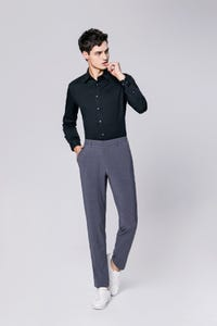 Grey Ultra Slim Fit Nylon Spandex Pants
