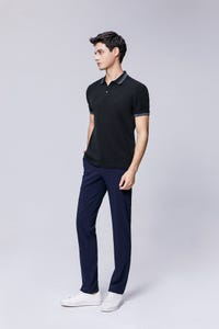 Black Smart Fit Stripe Collar and Cuffs Polo