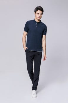 Navy Blue Smart Fit Paisley Stand Collar Polo