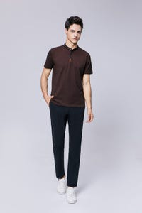 Maroon Smart Fit Tipped Stand Collar Polo