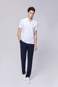 White Smart Fit Eagle Print Polo