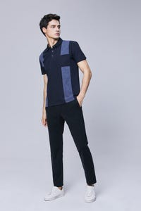 Navy Blue Smart Fit Stripe Colour Block Polo