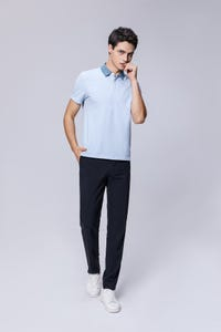 Light Blue Smart Fit Faded Collar Polo