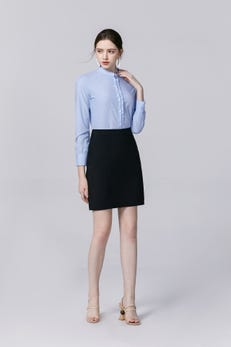 Cashmere Blue Regular Fit Bamboo Striped Shirt with Ruffled Collar