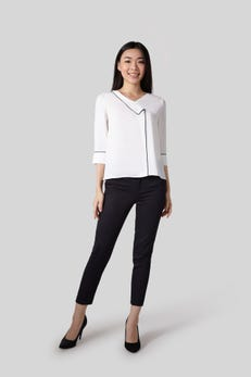 3/4 Sleeve Top with Contrast Piping