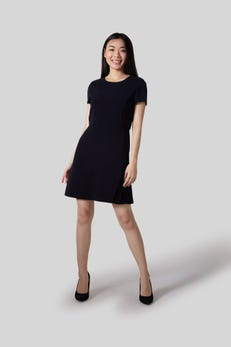 Pleated Fit-and-Flare Poly Twill Dress