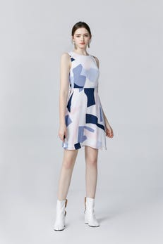 White Giant Puzzle Printed Fit-and-Flare Dress