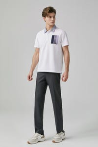 Stripe Block Pocket Polo