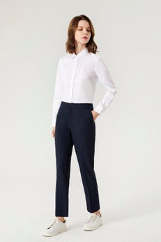 Lace and Pintucked Bib Easy Fit Shirt