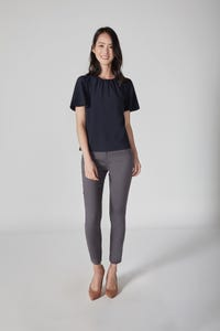 Flare Short Sleeve Blouse with Gathered Neck Detail