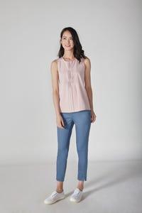 Cropped Skinny Sateen Pants