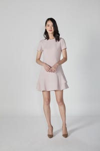 Poly Crepe Dress with Ruffled Hem