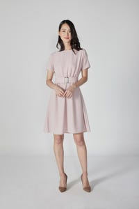 Crepe Midi Belted Dress with Extended Sleeves