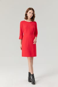 Crepe Fitted Midi Dress with Lace Trim