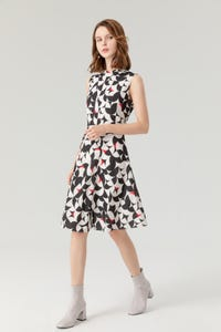 Geometric Printed Fit and Flare Dress