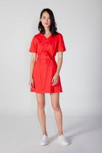Cuffed Sleeves Fit & Flare Dress
